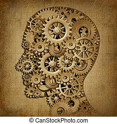 grunge, intelligenz, medizin, maschine, gehirn, symbol