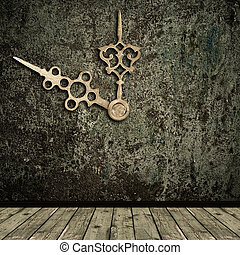 Photo of abstract grunge shabby interior with golden clock hands