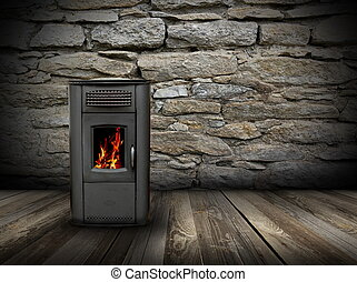 grunge interior backdrop with burning stove - interior...