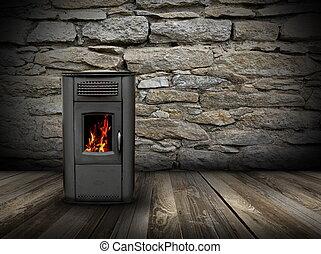 grunge interior backdrop with burning stove - interior...