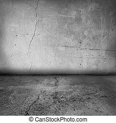 grunge, interior, pared, y, piso