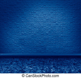 grunge interior toned in trendy Classic Blue color of the Year 2020