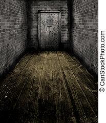 Grunge Interior with a prison door - Grunge style image of...