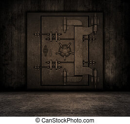 Grunge interior with bank vault - Grunge style image of a...