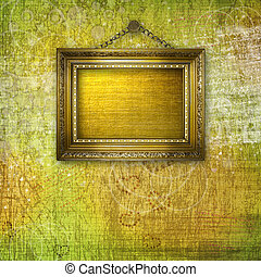 grunge  interior with frames in style baroque