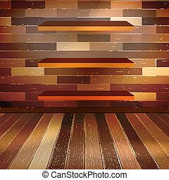 Grunge interior with three shelves. EPS 10