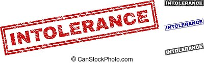 Grunge INTOLERANCE Textured Rectangle Stamps