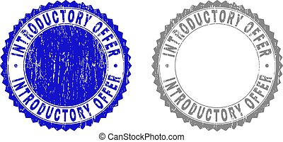 Grunge INTRODUCTORY OFFER stamp seals isolated on a white background. Rosette seals with grunge texture in blue and gray colors.