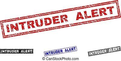 Grunge INTRUDER ALERT Scratched Rectangle Stamps