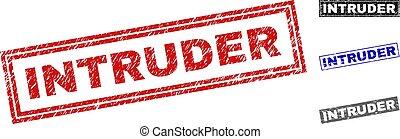 Grunge INTRUDER Scratched Rectangle Stamps