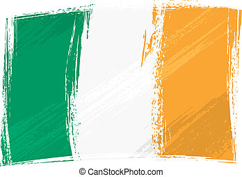 Ireland national flag created in grunge style
