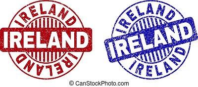 Grunge IRELAND Scratched Round Watermarks