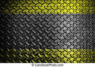 Grunge iron plate with warning stripe