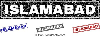 Grunge ISLAMABAD Textured Rectangle Stamp Seals - Grunge...