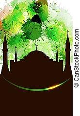 Grunge islamic design template
