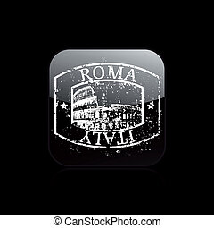 grunge, isolé, illustration, rome, unique, vecteur, icône