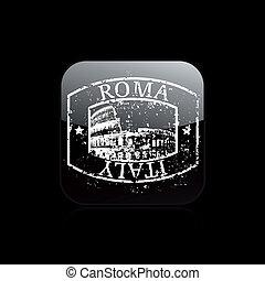grunge, isolerat, illustration, rom, singel, vektor, ikon