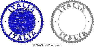 Grunge ITALIA Scratched Stamps - Grunge ITALIA stamp seals...