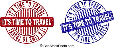 Grunge IT'S TIME TO TRAVEL Scratched Round Stamp Seals