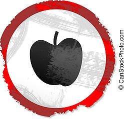 grunge, jabłko, znak