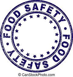 grunge, jadło, znak, tłoczyć, bezpieczeństwo, textured, okrągły