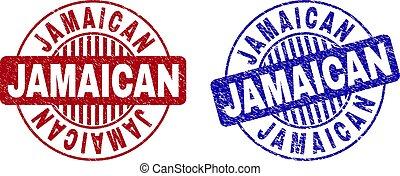 Grunge JAMAICAN Scratched Round Stamp Seals