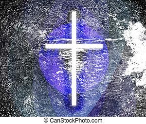 grunge, jarzący się, krzyż