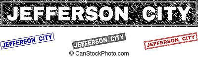 Grunge JEFFERSON CITY Scratched Rectangle Stamps - Grunge...