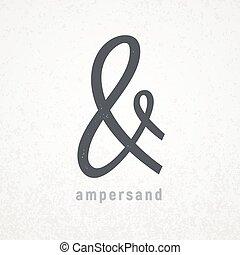 grunge, jelkép, finom, vektor, háttér, ampersand.