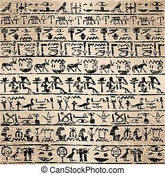 grunge, jeroglíficos, plano de fondo, egipcio