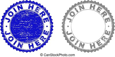 Grunge JOIN HERE Textured Stamp Seals - Grunge JOIN HERE ...