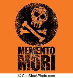 grunge jolly roger sign on orange background
