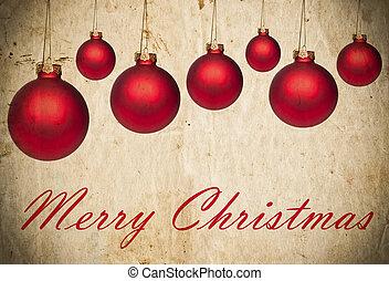 grunge, jul, bakgrund, med, röd, jul ornamenter
