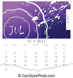 grunge, juli, vinranke, kalender