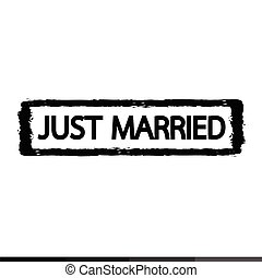 Grunge just married rubber stamp illustration design