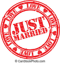 Grunge just married rubber stamp, vector