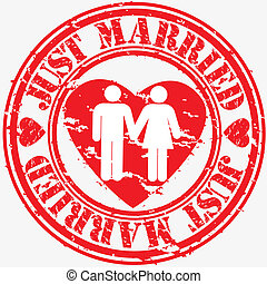 Grunge just married rubber stamp, v