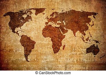 grunge, kaart, van, de wereld