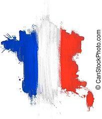 grunge, kaart, van, frankrijk, met, frans vlag