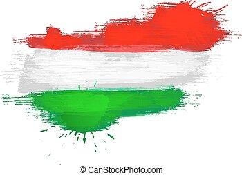 grunge, kaart, van, hongarije, met, hongaarze vlag