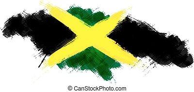 grunge, kaart, van, jamaica, met, jamaicaanse vlag