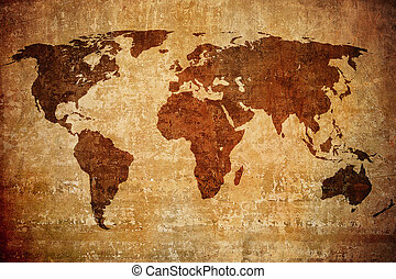 grunge, karta, av, världen