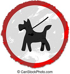 grunge keep dog on lead sign - Grunge style street sign...
