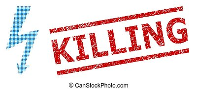 Grunge Killing Stamp and Halftone Dotted High Voltage - High...