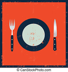 Grunge Kitchenware - Fork, Knife And Plate