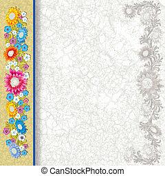 grunge, kleur, abstract, achtergrond, witte bloemen