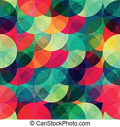 grunge, kleurrijke, model, seamless, effect, cirkel