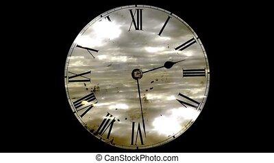 grunge, klok, en, clouds., de tijdspanne van de tijd