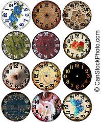 grunge, klok, horloge, gezichten, 12