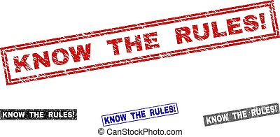 Grunge KNOW THE RULES! Textured Rectangle Stamps